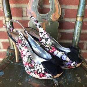 Rampage Slingback Floral Heel with Black Bow